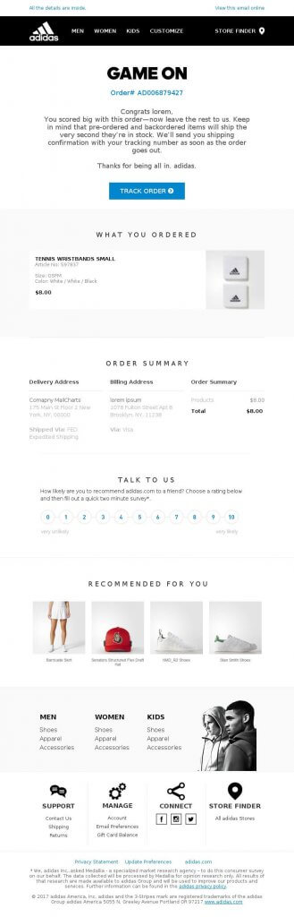 What Is Included In The Order Confirmation Emails?